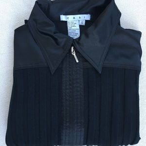 CAbi sweater with satin collar and double zip Sz S